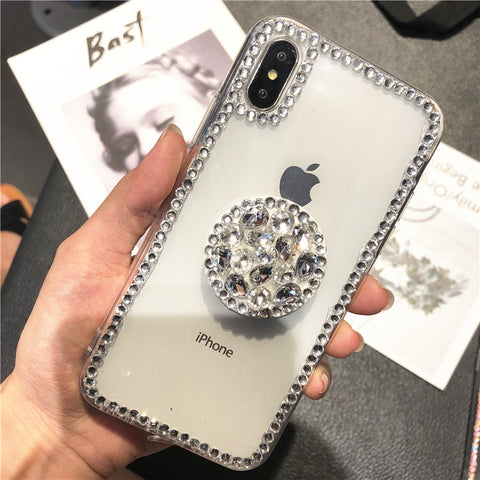 Luxury Small Rhinestone Trim Transparent Phone Case for Samsung with Phone Holder gallery 2