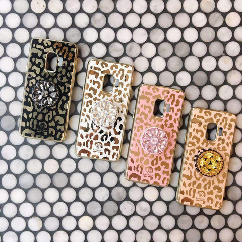 Freedom Style Leopard Skin Print Phone Case For Samsung with Phone Holder