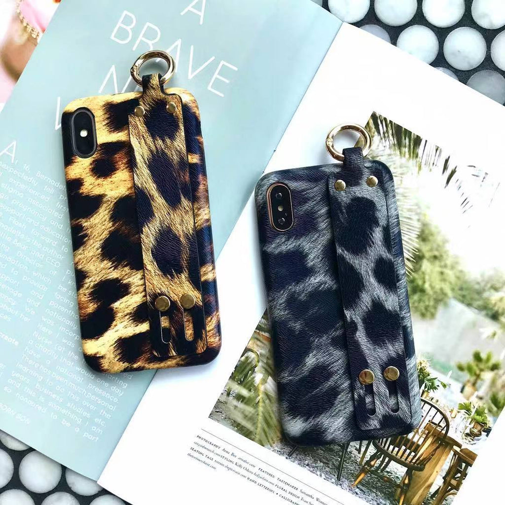 Leopard Skin Print Phone Case For All iPhone with Handle