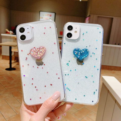 Glitter Colored Heart Pattern Little Star Detail Phone Case for Samsung gallery 1