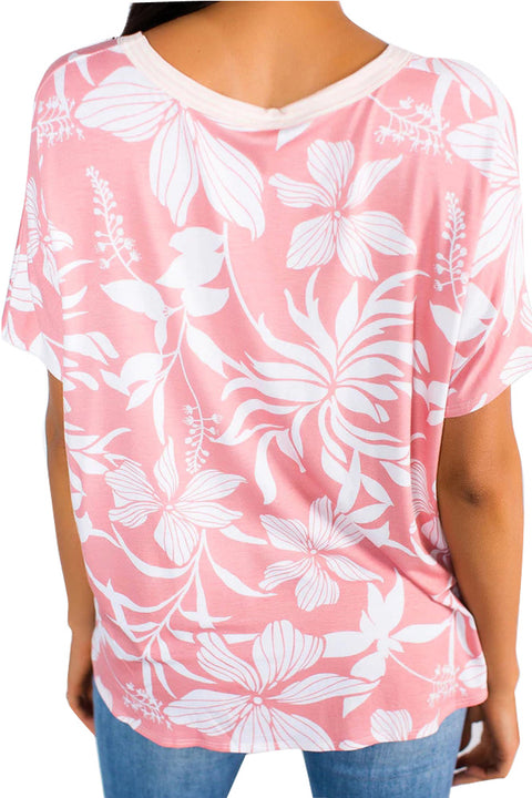Pink White Floral Button Front Short Sleeve Top gallery 2