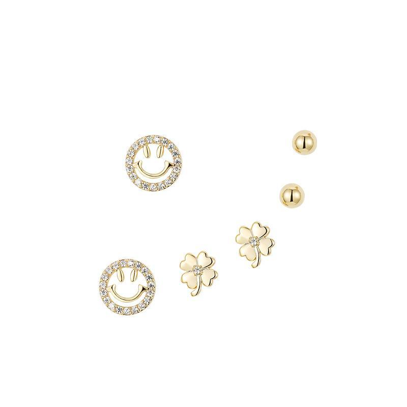 6Pcs Personality Design Smile & Clover Ear Stud