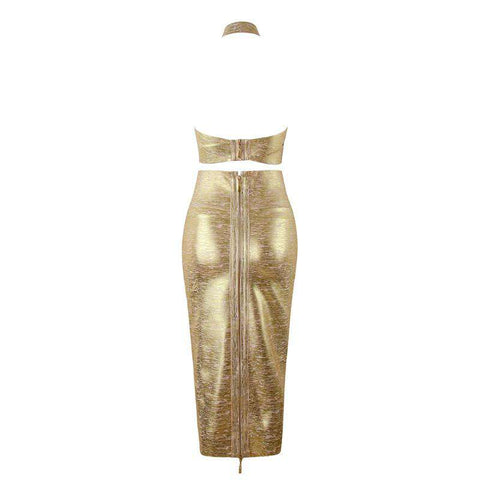 Bandage Halterneck Slinky Midi Dress Suit gallery 5