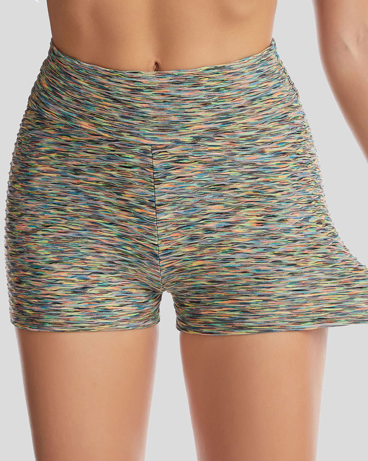 Allover Print Textured Ruched Sports Shorts gallery 4