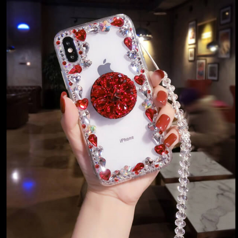Glitter Crystal Stud Phone Case for Samsung with Phone Holder and Hand Strap gallery 2
