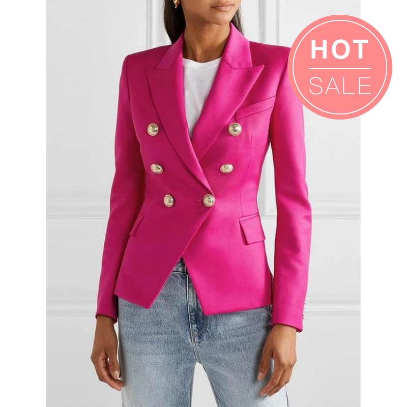 Pink Colors Double Breasted Gold Button Blazer