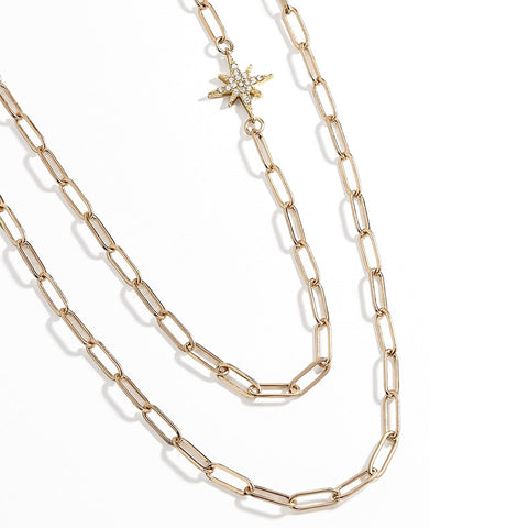 Gold Double Layering Star Diamante Link Necklace