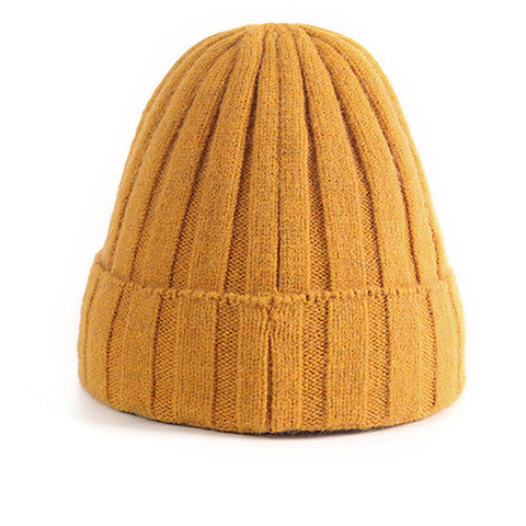 Ribbed Knit Cuffed Fuzzy Lining Beanie Hat gallery 3
