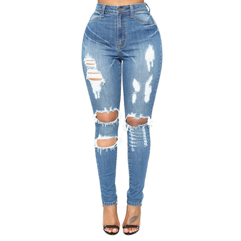 High Waist Knee Ripped Mid Blue Skinny Jeans