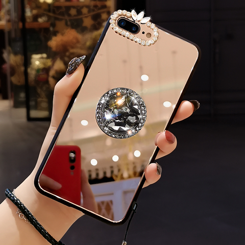 Mirror Rhinestone Side Phone Case for Samsung with Phone Holder gallery 6