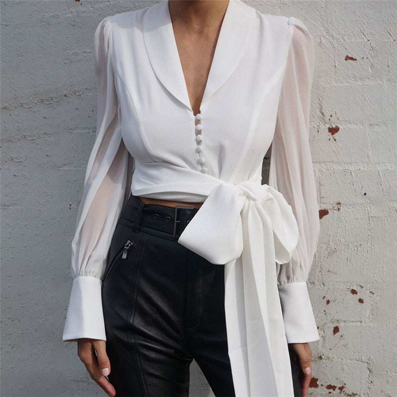 Low V-neck Lantern Sleeve Bow Self Tie Chiffon Blouse