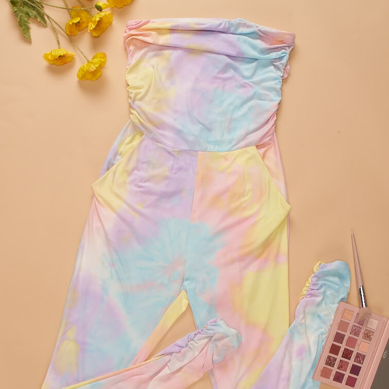 Tie Dye Ruched Strapless Pocket Detail Jumpsuit