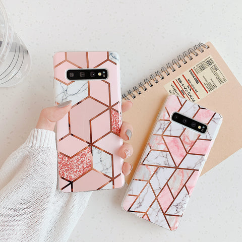 Electroplate Rhombus Marble Phone Case for Samsung gallery 3