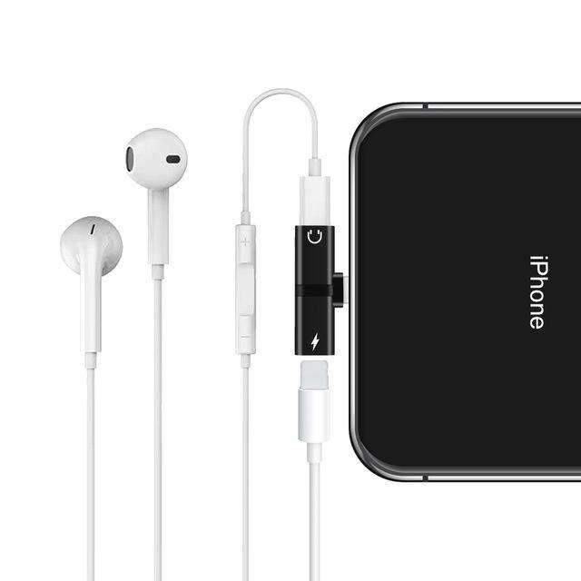 cheap for discount 4aaa3 99691 Apple iPhone X 7 8 Plus XS Max XR Audio Charging Dual Adapter Splitter Jack  Headphone Earphone AUX Connector Converter