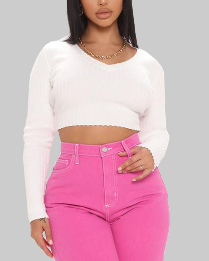 Rib Knit V Neck Form Fitting Crop Sweater gallery 3