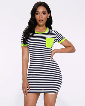Contrast Stripe Print Pocket Detail Lounge Dress