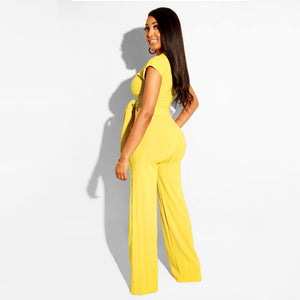 Tied Front Ribbed Top & Wide Leg Pant Set