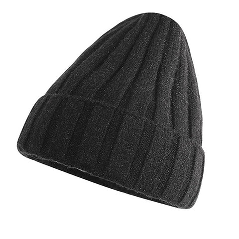 Ribbed Knit Cuffed Fuzzy Lining Beanie Hat gallery 5