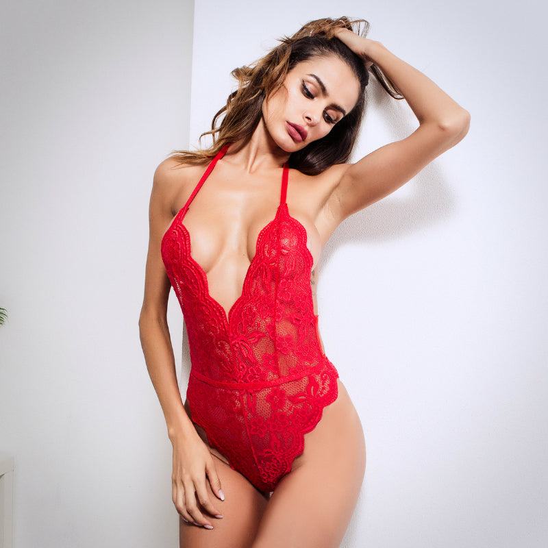 Sexy Deep-v Lace Sheer Teddy Bodysuit