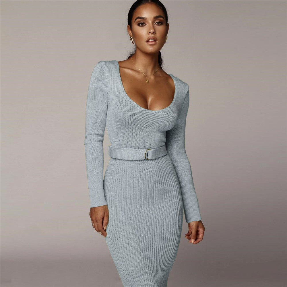 Scoop Neck Belted Wasit Lace-Up Ribbed Bodycon Sweater Dress
