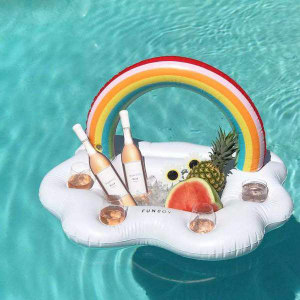Rainbow Inflatable Drink And Food Serving Luxury Party Pool Float