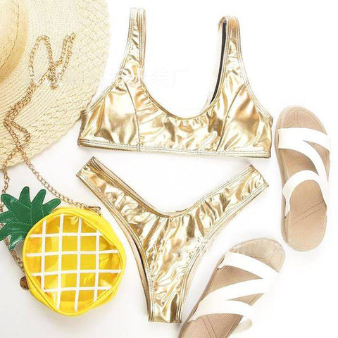 Sparkling Wire Color with High Leg Bikini Set Swimsuit