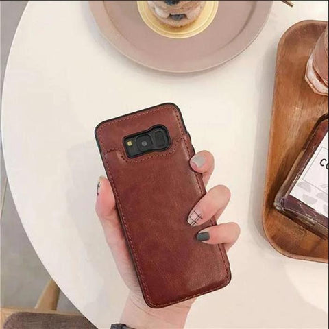 Concise Card Pluggable Leather Phone Case for Samsung gallery 2