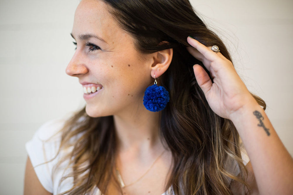 Royal Blue Pom-Pom Earrings