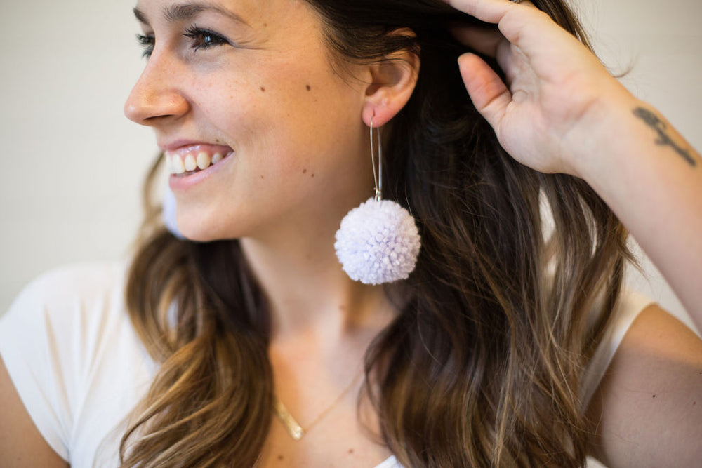Lilac Purple Pom-Pom Earrings