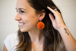 Rust Pom-Pom Earrings