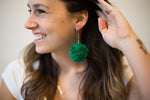 Kelly Green Pom-Pom Earrings
