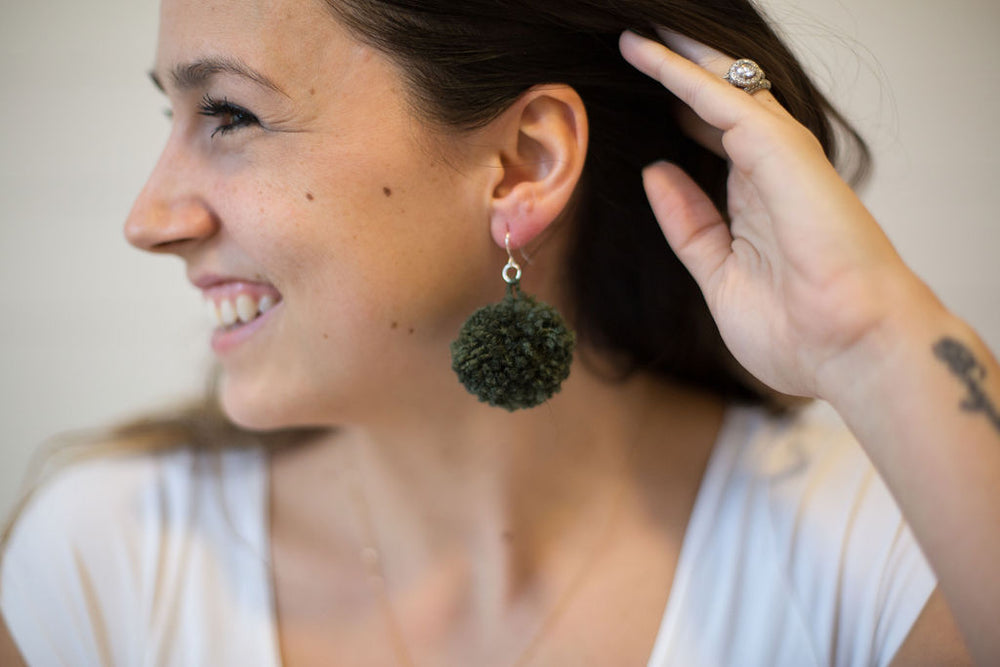 Olive Green Pom-Pom Earrings