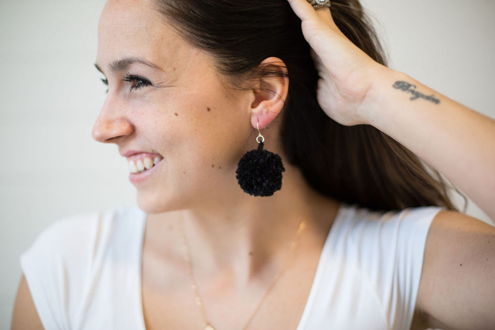 Black Pom-Pom Earrings
