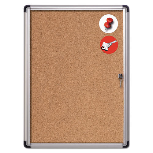 MasterVision® Slim-Line Enclosed Cork Bulletin Board