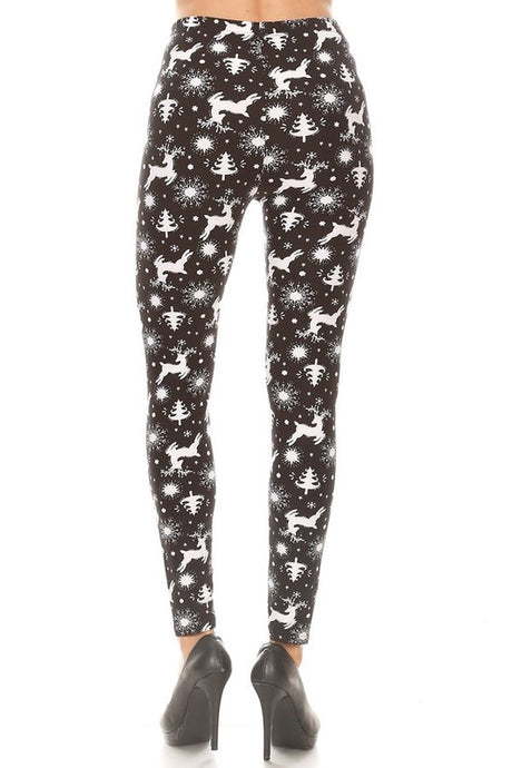 Christmas Deer High-Waisted Leggings