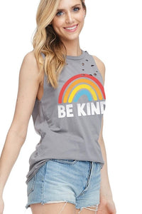 Be Kind Tank Distressed Grey