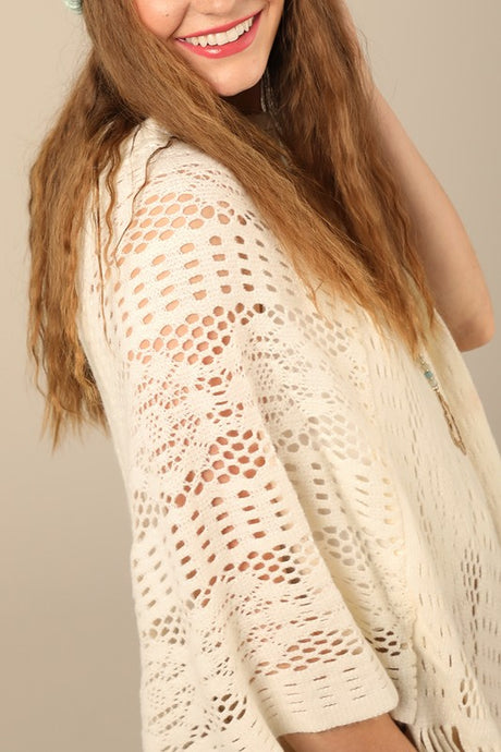 Camille Crochet Poncho O/S ivory