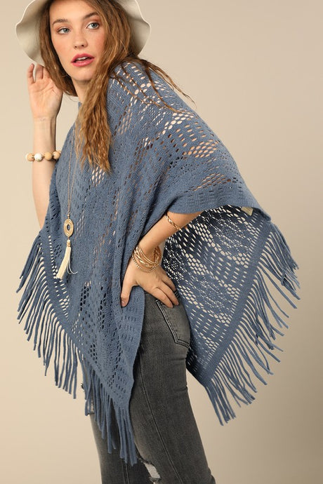 Camille Crochet Poncho O/S Blue