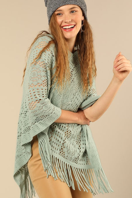 Camille Crochet Poncho Teal