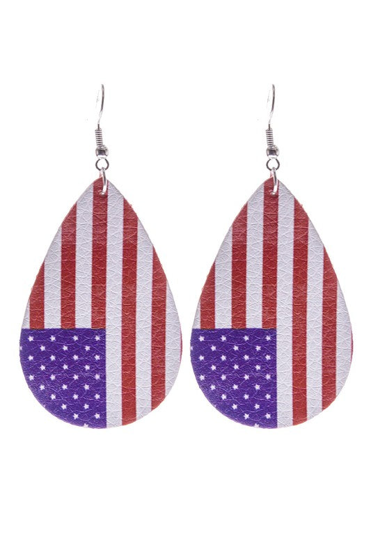Old Glory Faux Leather Earrings