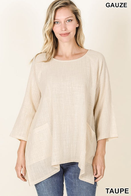 Easy Breezy Gauze Top Taupe