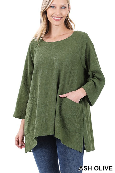 Easy Breezy Gauze Top Ash Olive