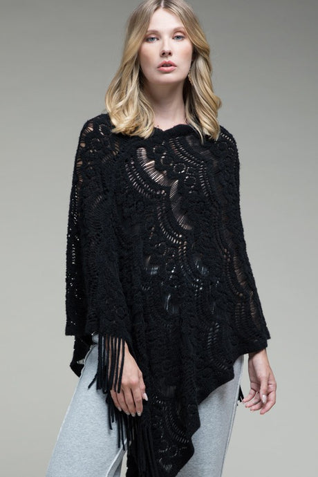 Prairie Open Knit Poncho Black
