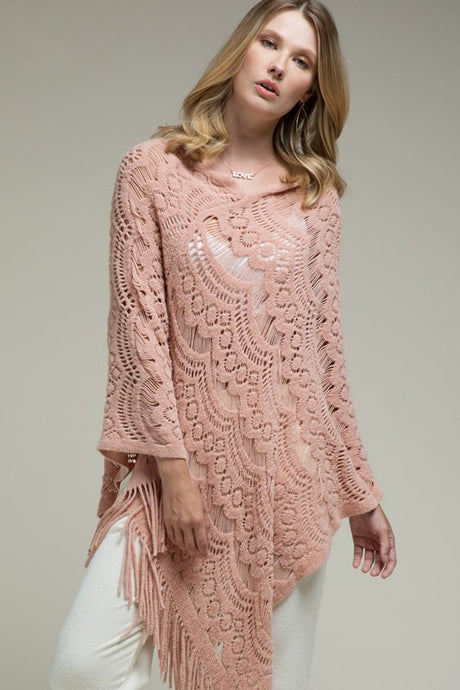 Prairie Open Knit Poncho Blush