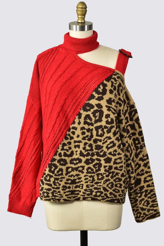 Gemini Leopard Sweater Red
