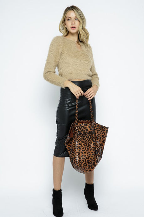 Leopard Tote Dark Brown