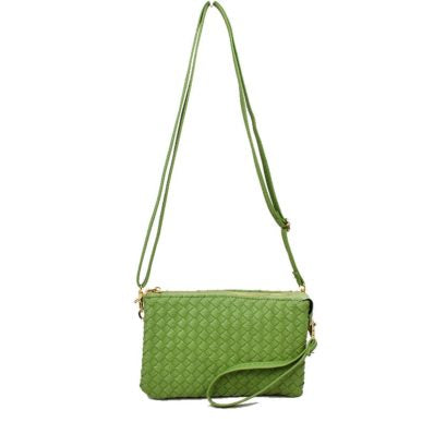 Basket Weave Double Zip Green Apple