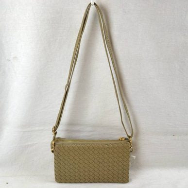 Basket Weave Double Zip Khaki