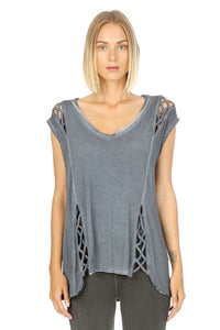 Nicoletta Lattice Top Blue