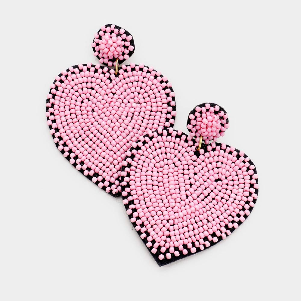 Beaded Heart Pink
